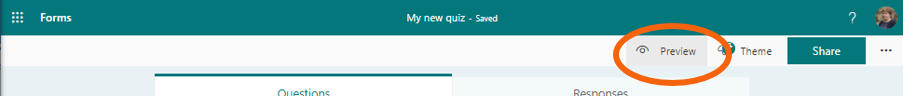 Quiz in MS Forms with Preview button highlighted