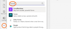 MS Teams menu with More added apps highlighted and Forms written in the search bar