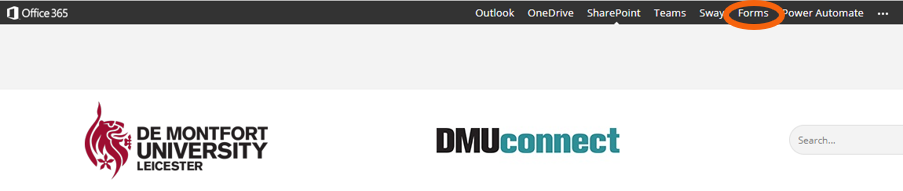 Head of DMU Connect webpage showing top menu with Forms selected