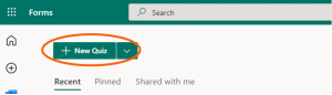 Forms app in web browser with New Quiz button highlighted