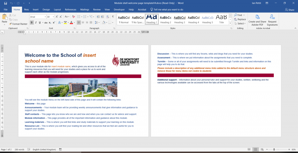 The Module shell template Word document