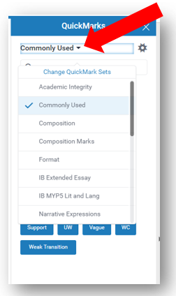 QuickMarks dropdown menu is selected to display commonly used QuickMark sets