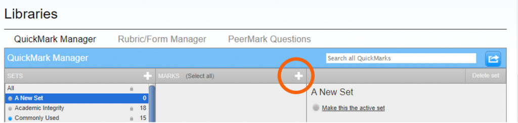 Add new mark button highlighted in QuickMarks Manager