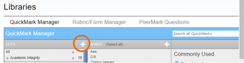 Add new set button highlighted in QuickMarks Manager