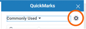 Manage QuickMarks button highlighted on QuickMarks frame
