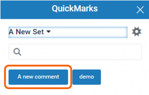 New comment button highlighted in QuickMarks