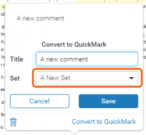 Add to set drop-down list highlighted in Convert to QuickMark pop-up