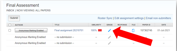 A Turnitin inbox, with Grade icon of one submission highlighted