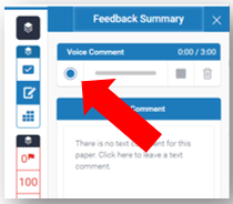 Within the Voice Comment box, the Record button is highlighted