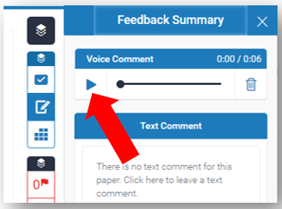 In Voice Comment box the Play button is highlighted