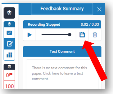 In Voice Comment box, the Save button is highlighted